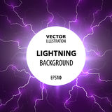 Lightning background. Flashes of lightning from the center of the circle. Stock Image