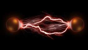 Lightning Balls. The two copper electric balls. The concept of energy and power Royalty Free Stock Image