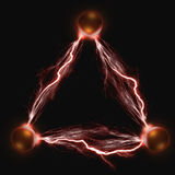 Lightning Balls. The three copper electric balls. The concept of energy and power Stock Photography