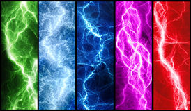 Lightning banners. Five abstract lightnings banners collection Royalty Free Stock Images