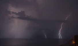 Lightning on the beach Stock Photography