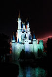 Lightning Behind the Magic Kingdom. Stock Photography