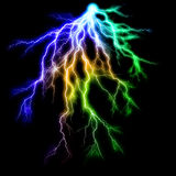 Lightning on Black. Intense bolts of alien lightning on a black background royalty free illustration