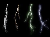 Lightning on Black Royalty Free Stock Photos