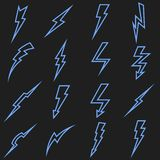 Lightning black vector linear outline icons set Royalty Free Stock Image