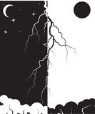 lightning in the black and white background Royalty Free Stock Photography