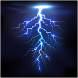 Lightning of blue with a black background. Illustration of Lightning of blue with a black background stock illustration