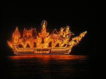 Lightning boats. A festival with boats made from fire stock image