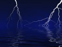 Lightning Bolt. Lightining over lake and deep blue sky Stock Images