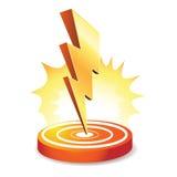 Lightning bolt. Powerful lightning bolt targeting, isolated on white Stock Images