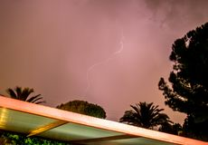Lightning Bolt. A lightning bolt above the skies of Catania, Italy royalty free stock image