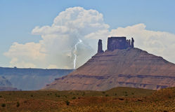 A Lightning Bolt at Castleton Tower, Utah Royalty Free Stock Photo