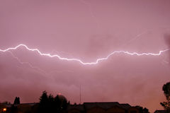 Lightning Bolt Farm thunderstorm. Lightning weather bolt thunderstorm flash rain Royalty Free Stock Images