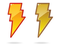 Lightning Bolt Icon EPS. A pair of glossy lightning bolt icons. Shadow placed on separate layer Stock Photography