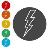 Lightning bolt icon. Simple vector icons set Royalty Free Stock Photography