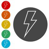 Lightning bolt icon. Simple vector icons set Stock Image