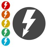 Lightning bolt icon. Simple vector icons set Stock Images
