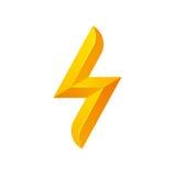 Lightning bolt icon. Lightning bolt symbol for logo or icon. Stylized geometric vector illustration isolated on white background Stock Images
