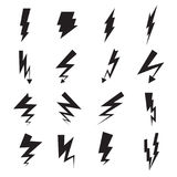 Lightning bolt icons. Collection of 16 black lightning bolt symbols isolated on a white background. Vector illustration Royalty Free Stock Photos