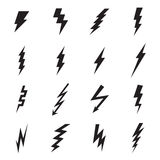 Lightning bolt icons isolated on a white background Stock Image