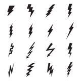 Lightning bolt icons isolated on a white background. Lightning bolt icons. Vector illustration Stock Image