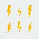Lightning bolt icons set Royalty Free Stock Image