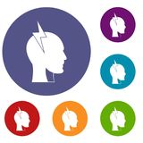 Lightning bolt inside head icons set Royalty Free Stock Photography