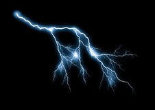 Lightning bolt. Isolated on black background stock photo