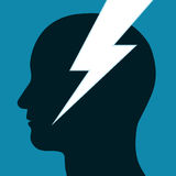 Lightning bolt through a mans head Royalty Free Stock Photo