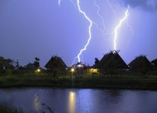 Lightning Bolt in Pai valley North Thailand Stock Image