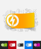 Lightning bolt paper sticker with hand drawn Royalty Free Stock Photos