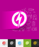 Lightning bolt paper sticker with hand drawn Stock Photography