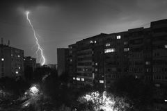 Lightning bolt. Real lightning bolt in city during a storm royalty free stock photography