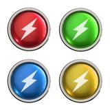 Lightning bolt icon glass button. Lightning bolt round shiny 4 color web icons with metal frame,3d rendered isolated on white background Royalty Free Stock Photo