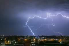Lightning strike in the city stock image