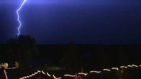 Lightning bolt striking the sky stock video