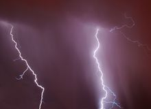 Lightning bolts. In the stormy skies stock photo
