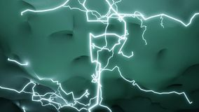 Lightning bolts brighten the clouds royalty free illustration