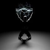 Lightning bolts between hands Royalty Free Stock Photos