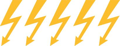 Lightning bolts in a line. Vector Stock Photos