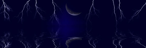 Lightning Bolts and Moon Stock Photography