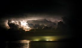 Lightning bolts over the sea Royalty Free Stock Photo