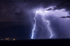 Lightning bolts. Striking at night royalty free stock photo