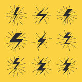 Lightning bolts vector icons set Royalty Free Stock Images
