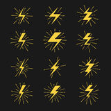 Lightning bolts vector icons set Stock Photos
