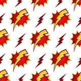 Lightning bolts vector seamless pattern in retro Royalty Free Stock Image
