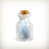 Lightning in a bottle, icon Stock Photo
