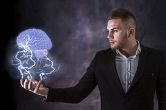 Lightning And Brain Stock Images