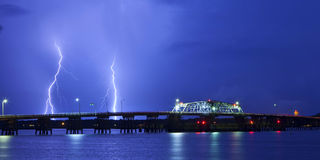 Lightning and bridge Stock Image