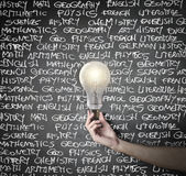Lightning bulb. With some writings in the beckground Royalty Free Stock Photo